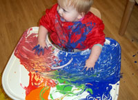 Getting carried away with finger painting!