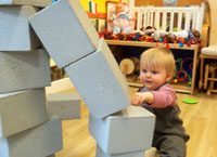 Building towers in the playroom!